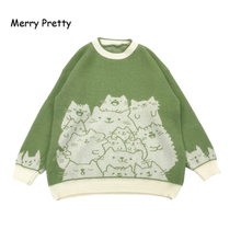 MERRY PRETTY Cartoon Cat Embroidery Knit Jumper Autumn Winter Womens Harajuku Pullover Sweater O-Neck Long Sleeve pullovers