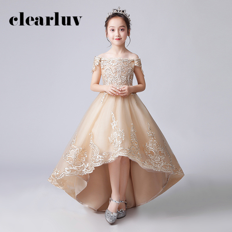 Flower Girl Dresses B070 Boat Neck Off The Shoulder Girls Princess Dresses Champagne Appliques Lace Tulle Girls Evening Dress