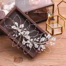 2019 Wholesale Rose Gold Silver Handmade Leaves Crystal Headband for Noiva Bride Bridal Wedding Hairband Dress Ornaments(China)