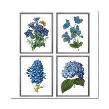 Fleurs bleues imprimables, 4 par conjunto, ilustrações de fleurs rétro, arte botânica