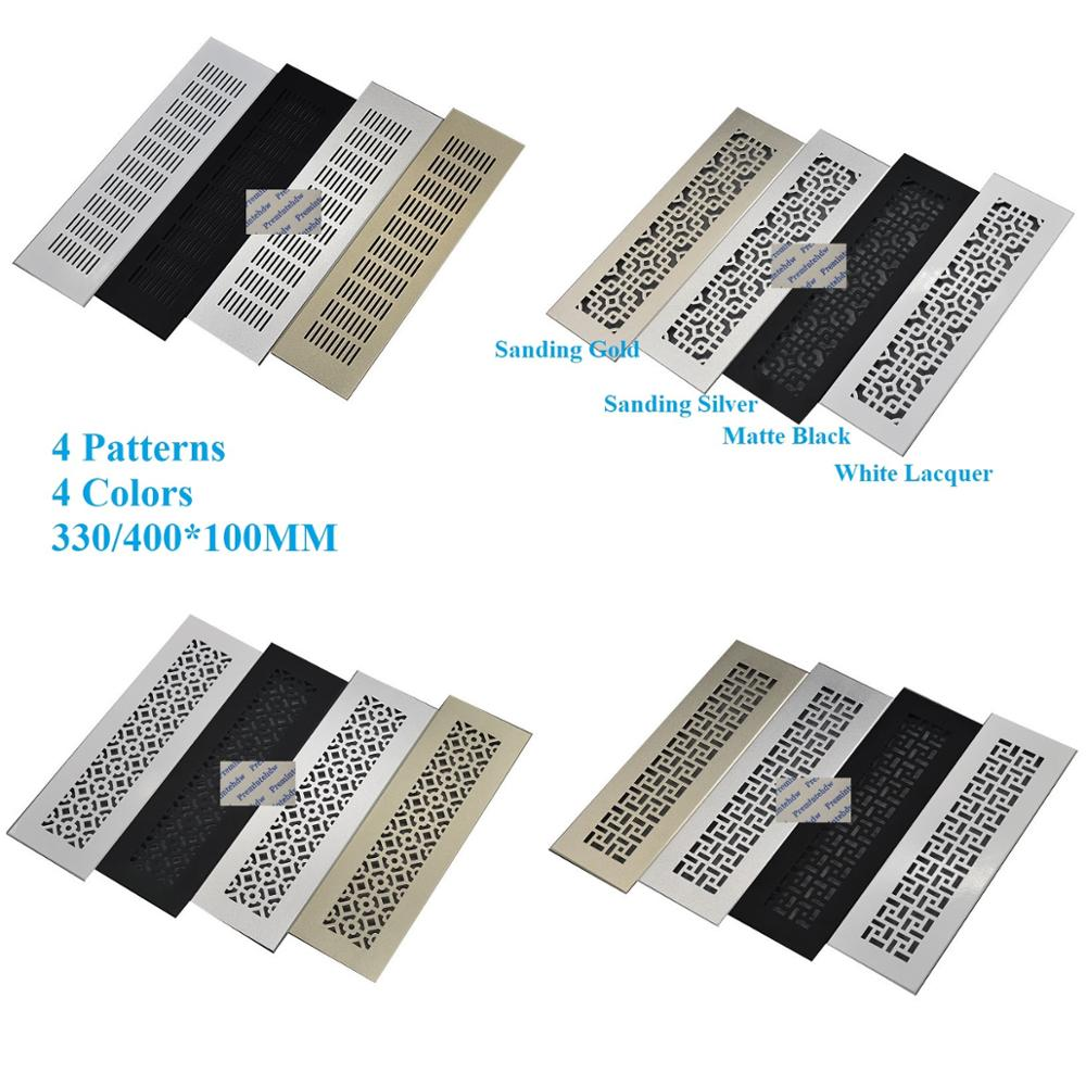 100mm Wide Square Rectangle Aluminum Air Vent Grille Cover A/C Furniture Closet Sanding Gold Silver Matte Black White Lacquer