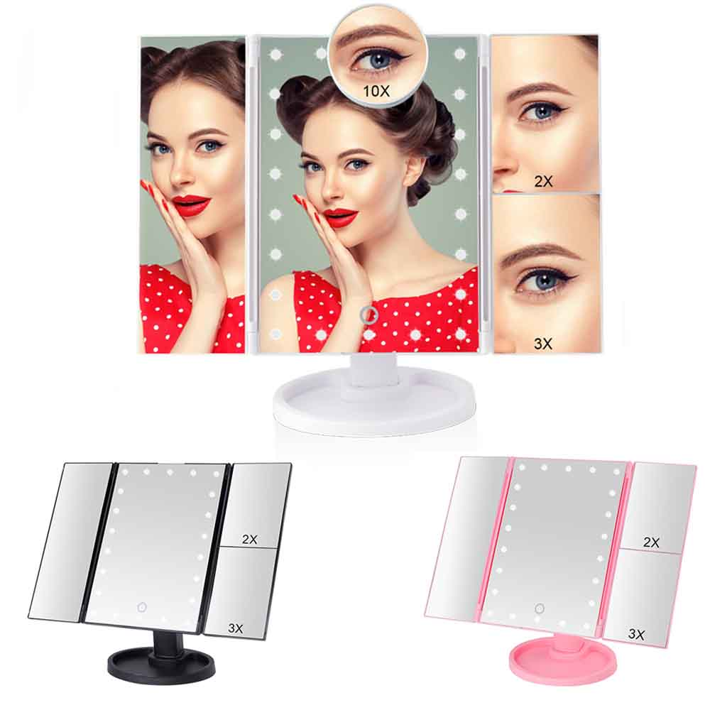 22 Light LED Touch Screen Makeup Mirror With 1X/2X/3X/10X Magnifying Mirrors Vanity 3 Folding Adjustable Table Desktop Mirror