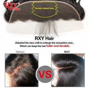 Image 4 - RXY mechones de cabello brasileño con mechones de cabello humano recto y rizado Frontal con 3 mechones de cierre con pelo Remy Frontal de encaje