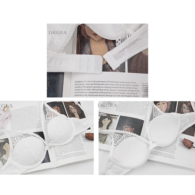 2019 Thin Cotton Bra Panties Sets White Women Lingerie Set Embroidery Hollow Brassiere A B C Cup Sexy Bras Lace Underwear Set 6