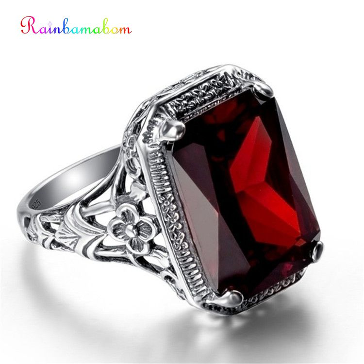 Rainbamabom 925 Solid Sterling Silver Ruby Gemstone Wedding Engagement Cocktail Party Ring Women Fine Jewelry Gifts Wholesale