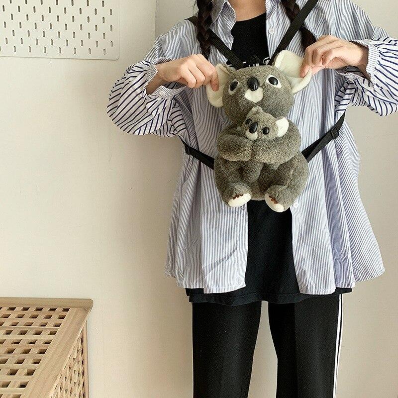 Japanese-style GIRL'S Meng Velvet Koala Ugly Meng Cute Bag Autumn And Winter Cartoon Doll Children Backpack