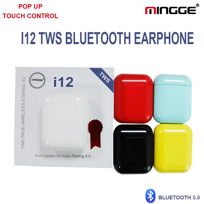 <font><b>Bluetooth</b></font> <font><b>5.0</b></font> <font><b>Earphones</b></font> <font><b>i12</b></font> <font><b>TWS</b></font> True <font><b>Wireless</b></font> Mini Earbuds Smart Touch <font><b>Headphones</b></font> High Quality Speaker Mic <font><b>Bluetooth</b></font> Headset image