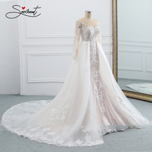 BAZIIINGAAA  Wedding Dress Sleeveless Round Neck Detachable Tail Wedding Dress Mermaid Lace Applique Bride Support Tailor made