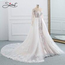 Baziingaa vestido de casamento sem mangas em torno do pescoço destacável cauda vestido de casamento sereia renda applique noiva suporte sob medida feito