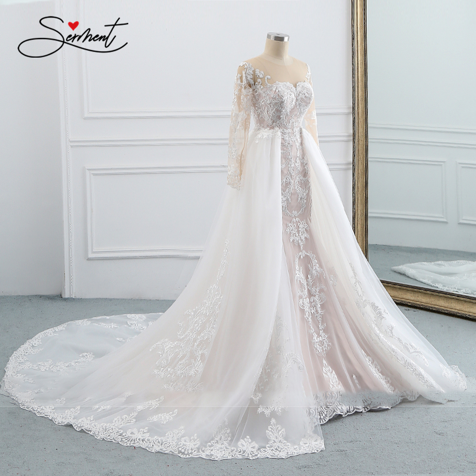 OLLYMURS 2020 Wedding Dress Sleeveless Round Neck Detachable Tail Wedding Dress Mermaid Lace Applique Bride Support Tailor-made