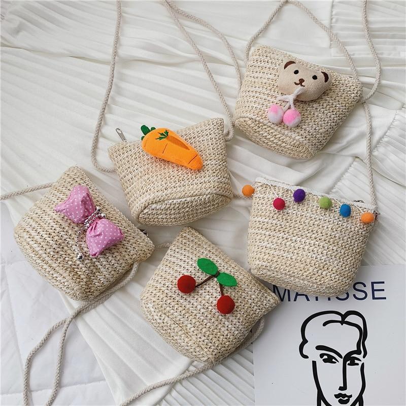 Children Shoulder Cross-body Weaving Bag Girls Western Style Fashion Mini Baby Retro Fresh Straw Purse