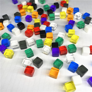 100Pcs/set 10 colors Transparent Grey Square Corner Colorful Crystal Dice Chess Piece Right Angle Sieve Cube For Puzzle Game 8mm(China)