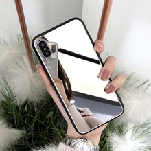 Luxury Clear Makeup Mirror Phone Case for iPhone 8 7 6 6S Plus Hard Tempered Glass Back Cover For iphone X XS MAX XR Woman Cases
