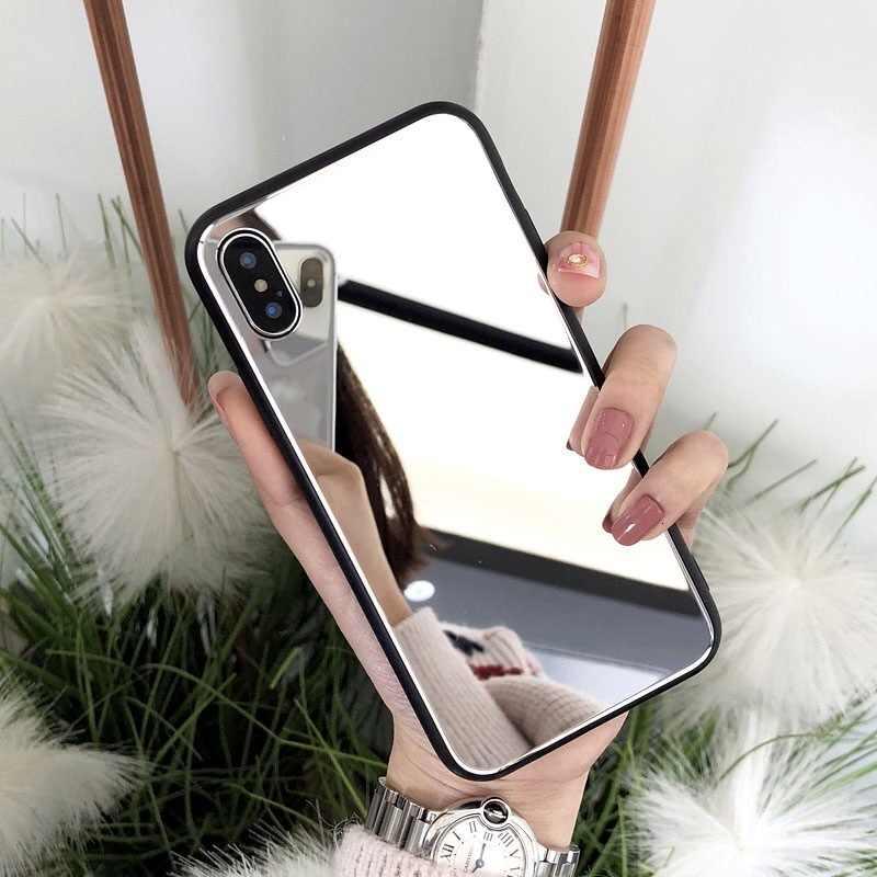 高級クリア化粧鏡電話ケース iphone 8 7 6 6S プラスハード強化用ガラス裏表紙 iphone X XS 最大 XR 女性ケース