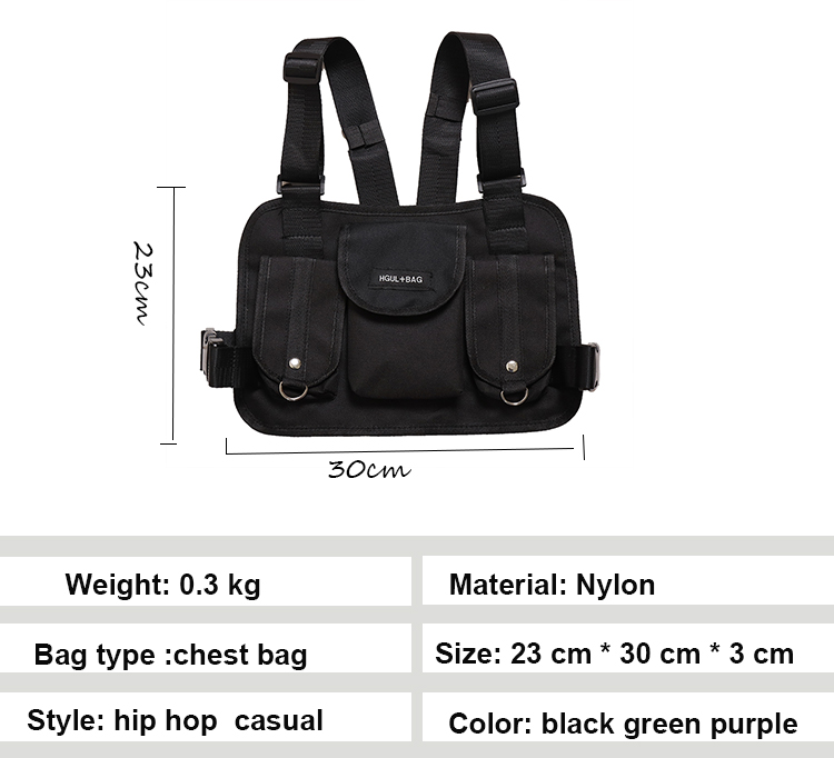 H49fdfd70ac844244bd073b778a916d50A - Fashion Chest Rig Bag Hip Hop Streetwear Functional Tactical Chest Bags Cross Shoulder Bag Kanye West backpack waist bag black