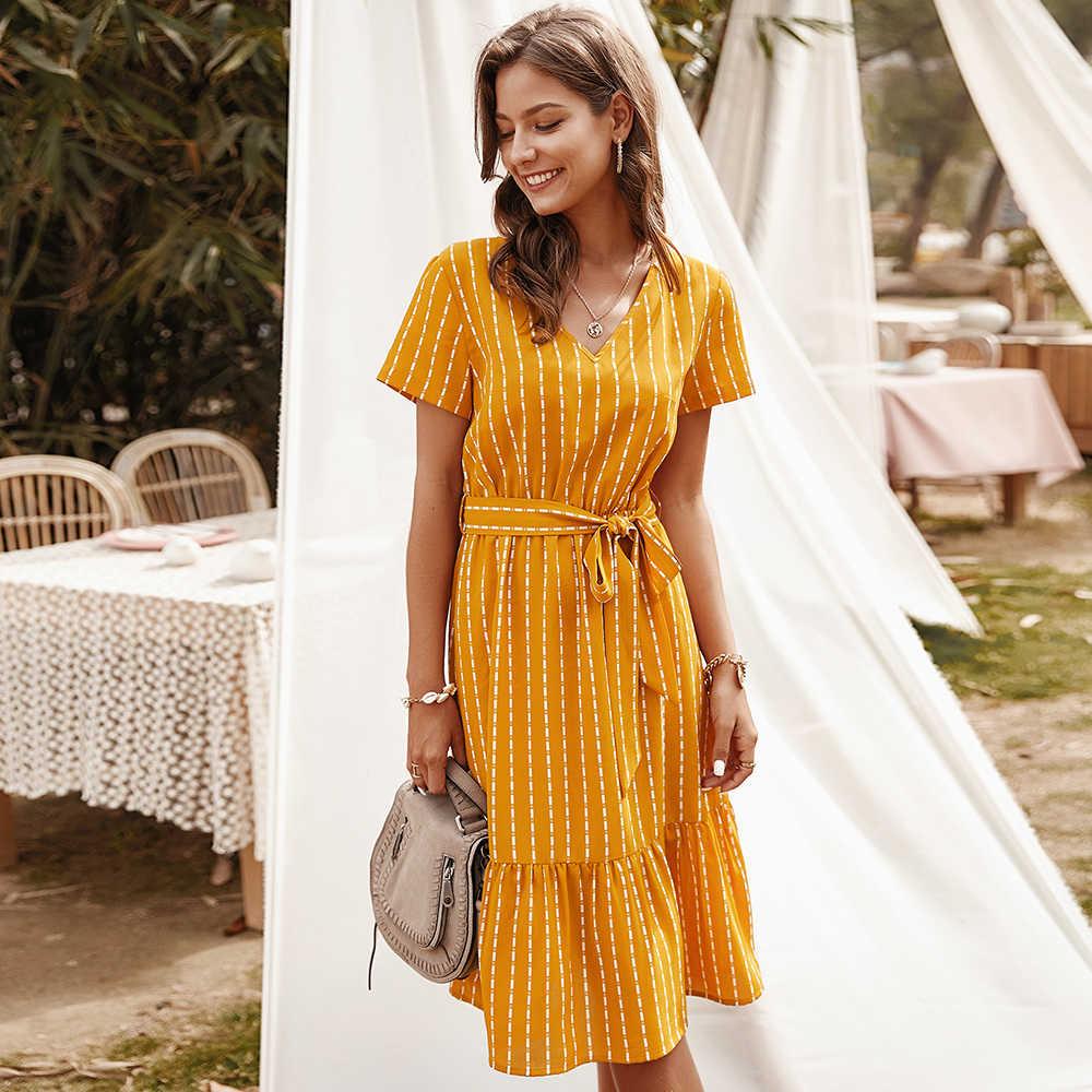 夏のドレスの女性 2020 エレガントな v ネックカジュアル a ラインミディドレスヴィンテージピンク黄色ストライプサッシレースアップサンドレス veatidos