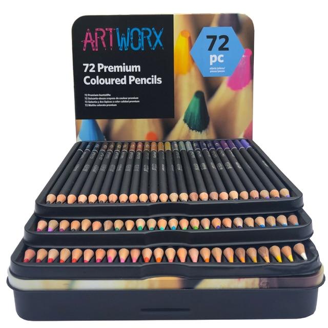 ARTWORX 72 цвета профессиональный набор цветных карандашей железная коробка цветные карандаши для рисования цветные карандаши школьные принад...