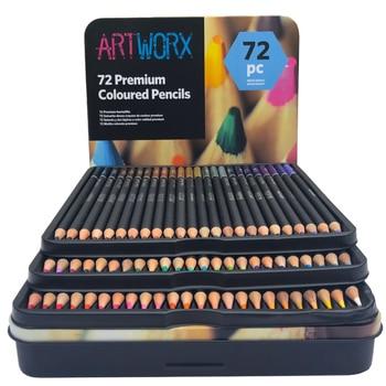 ARTWORX 72 Colors Professional Color Pencil Set Iron Box Colored Colour Drawing Pencil Lapices De Colores School Artist Supplies