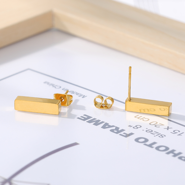 ICFTZWEc Stainless Steel Geometric Simple Bar Stud Earrings For Women Rectangle Gold Colour Earring Boucles D.jpg 640x640 - ICFTZWEc Stainless Steel Geometric Simple Bar Stud Earrings For Women Rectangle Gold Colour Earring Boucles D'Oreilles
