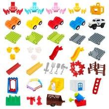 Tamanho grande diy blocos de construção balanço placa do carro câmera montar acessórios compatíveis com duploed tijolos brinquedos para crianças presente