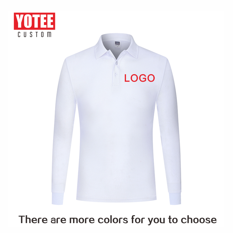 Autumn health cotton long-sleeved   polo   shirt personal company group uniform custom printing design photo LOGO