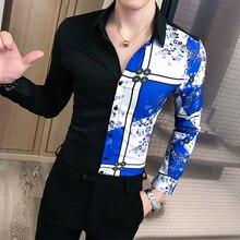2019 Men Shirt Patchwork Fashion Slim Fit Casual Shirts Night Club Dress Social Streetwear Clothing