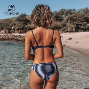 Image 2 - CUPSHE Cute Navy Blue Scalloped and Stripe Bikini Sets 2020 Women Solid Mid  waist Two Pieces Beach Bathing Suits Swimwear