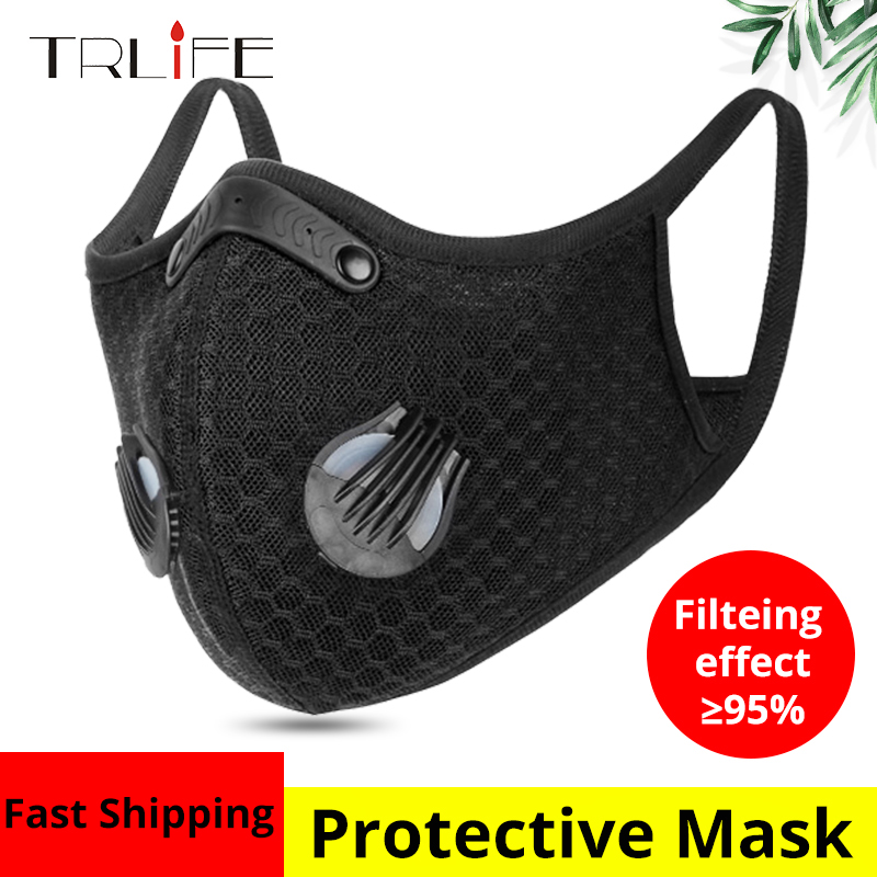 TRLIFE Sport Face Mask With Filter Anit-fog Activated Carbon Bicycle Anti-Pollution Running Training MTB Road Bike Cycling Mask
