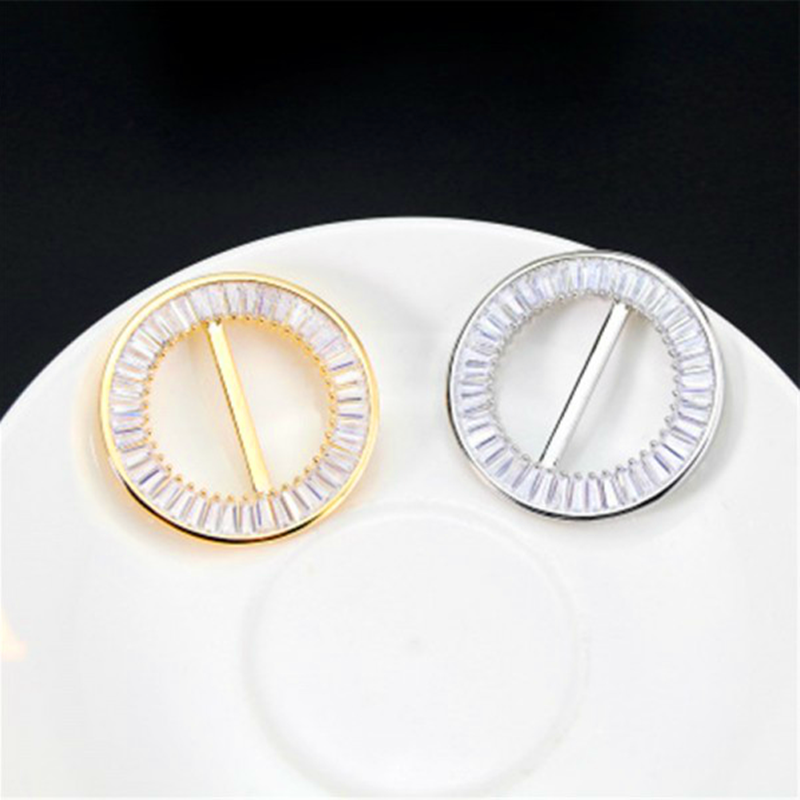 Fashion  Hollow Circle Rhinestone Brooch Shawl Clip Scarves Broche Circle Crystal Brooches For Women Gift Accessories Wholesale 4