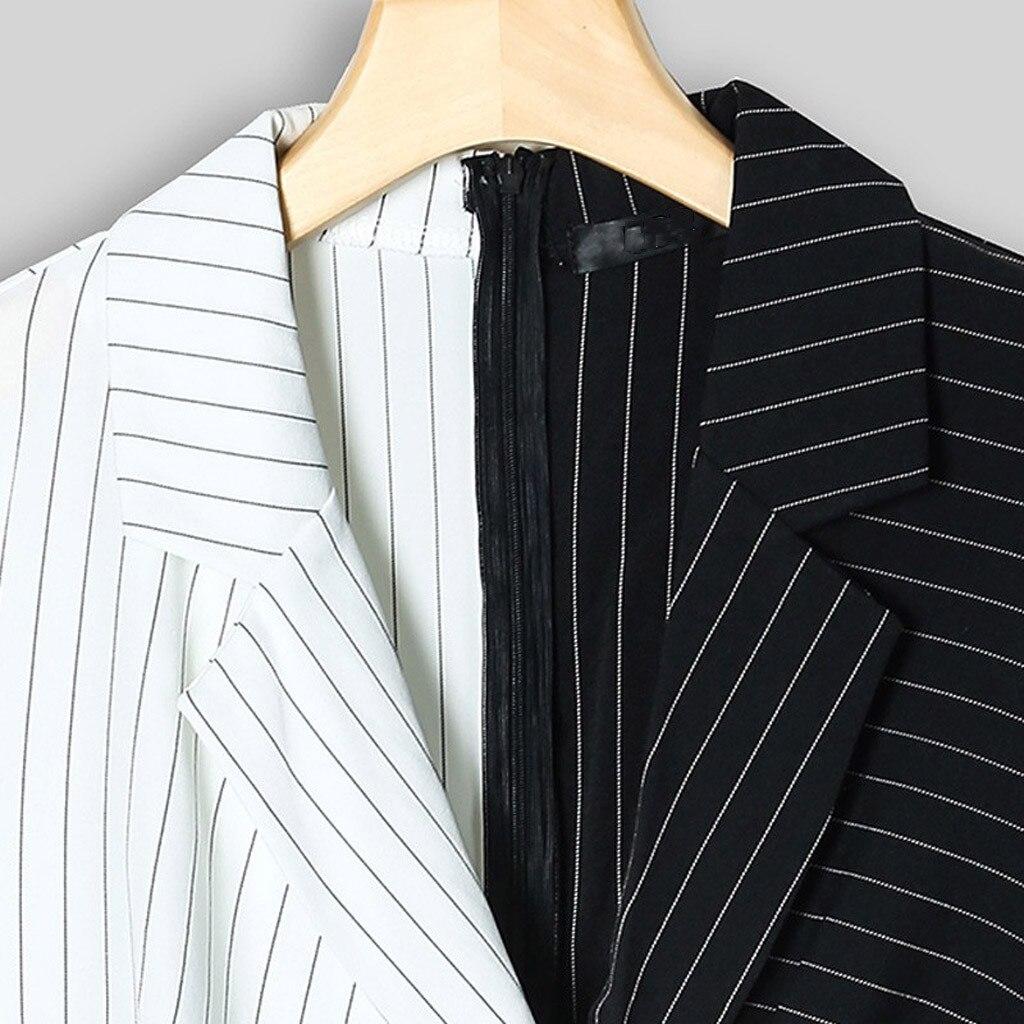 H49fe72097fd542a9b65a43ac1b55acfeN Autumn Dress Women Turn Down Neck Long Sleeve Buttons Striped Patchwork Tight Blazer Dress Vestido De Festa White Dress #D5