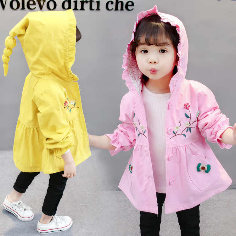 Kids Casual Medium Long Coats Children' Jacket Little Girls Autumn Fashion Cotton Hooded Flower Style Coats Windbeaker For Girls