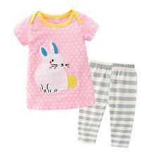 Коллекция 2021 года розовые футболки с кроликом штаны в полоску
