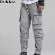 Dark Icon Side Pockets Cargo Sweatpants Men Elastic Waist Drawstring High Street Jogging Pants Mens Trousers