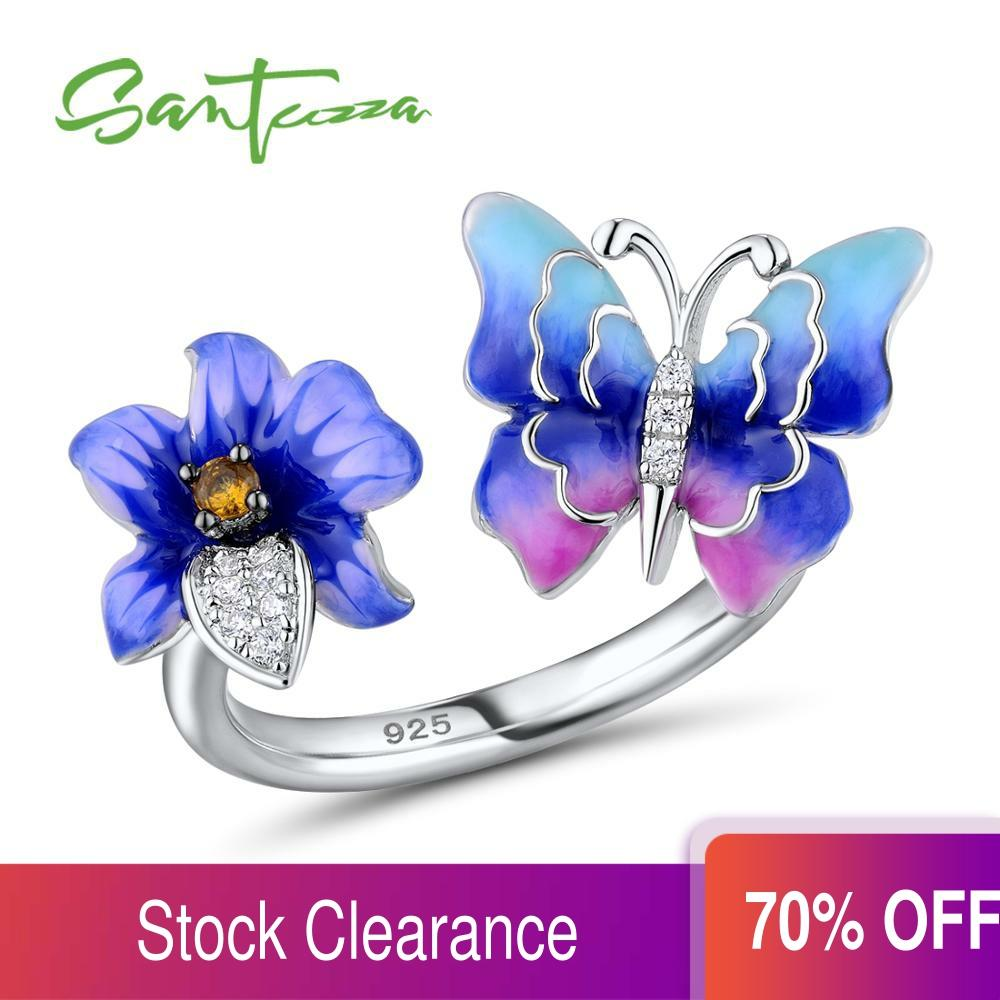 Adjustable Silver Colorful Flower Ring