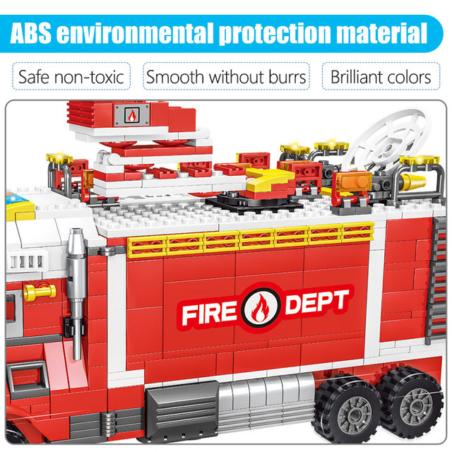 1143pcs New City Firefighter Figure Building Blocks Reload Truck To Move Fire Station Fighting Car Police  Kids Toys