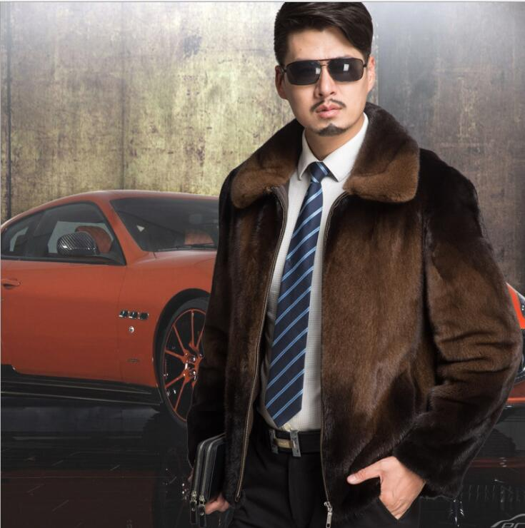 Autumn Brown Faux Mink Fur Leather Jacket Mens Winter Thicken Warm Fur Leather Coat Men Loose Jackets Fashion B191