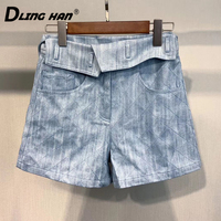 DLINGHAN Fashion Plaid Embroidery cotton Shorts high quality Casual cowboy Short Spring Summer Women'sNew