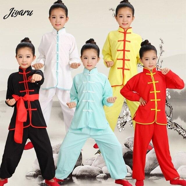판매 Wushu 제복 아이들 중국 전통 의류 아이 무술 제복 Kung Fu 한 벌 여아 소년 단계 성과 세트