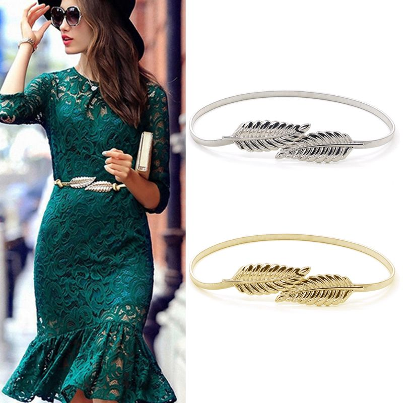 2Pcs/Set Women Girl Golden Silver Elastic Skinny Waist Belt Leaves Metallic Stretchy Evening Dress Wedding Chain Cummerbunds