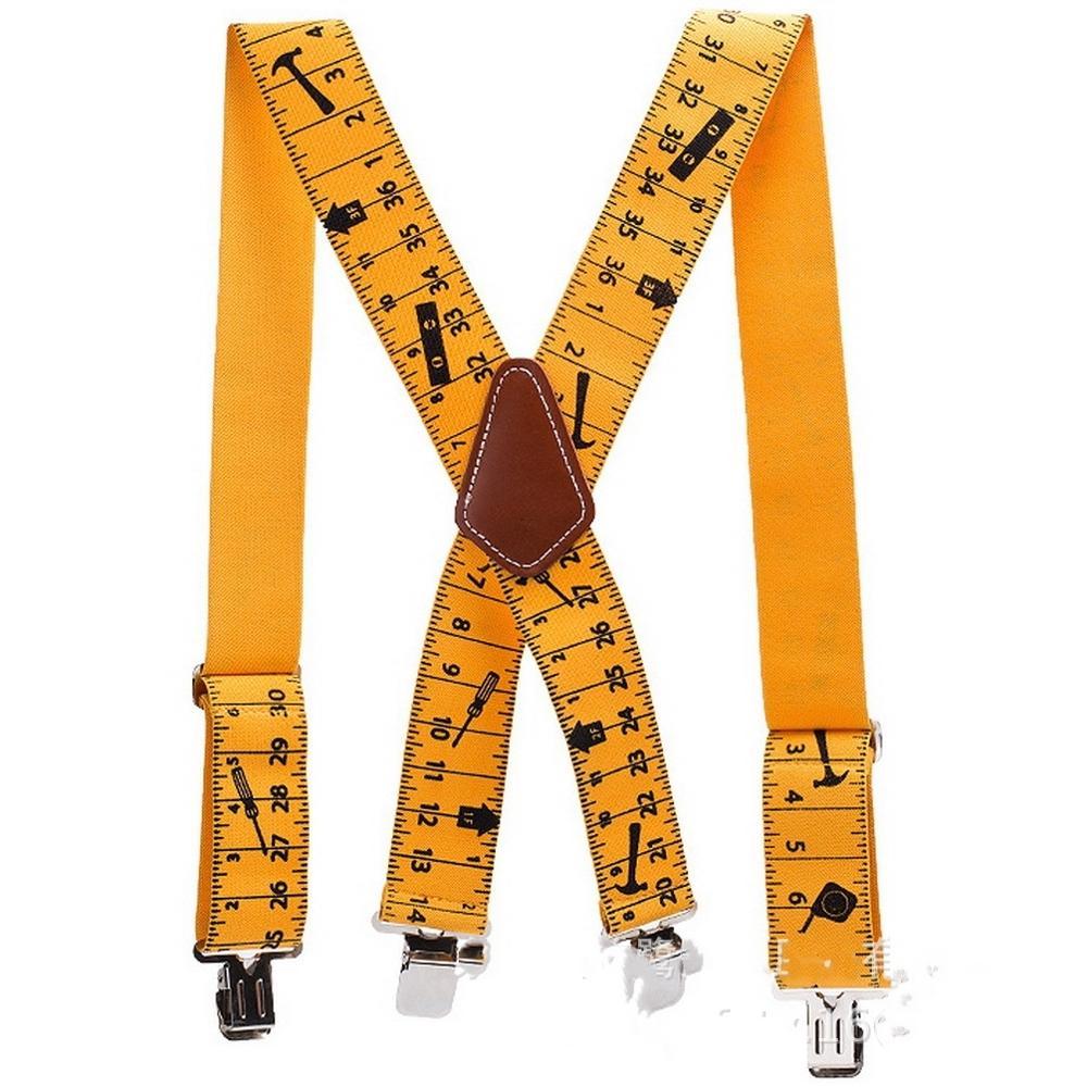HUOBAO New Men's Suspenders Adjustable Ruler Print X Shaped Heavy Duty 4 Clips Men Trousers Brace