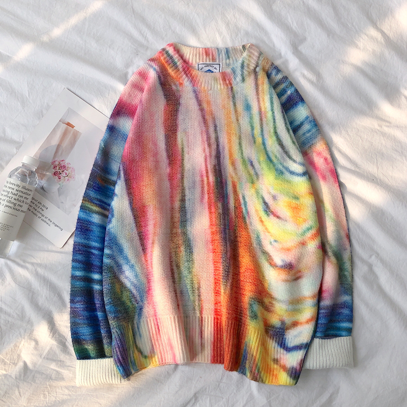 Autumn New Camo Sweater Men Fashion Tie Dyed Printed Casual Knit Streetwear Wild Loose Hip Hop Sweter Male Clothes