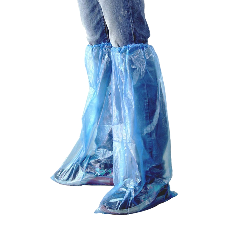 40 Packs Disposable Shoe Covers Blue Rain Shoes And Boots Cover Plastic Long Shoe Cover Clear Waterproof Anti-Slip Overshoe For