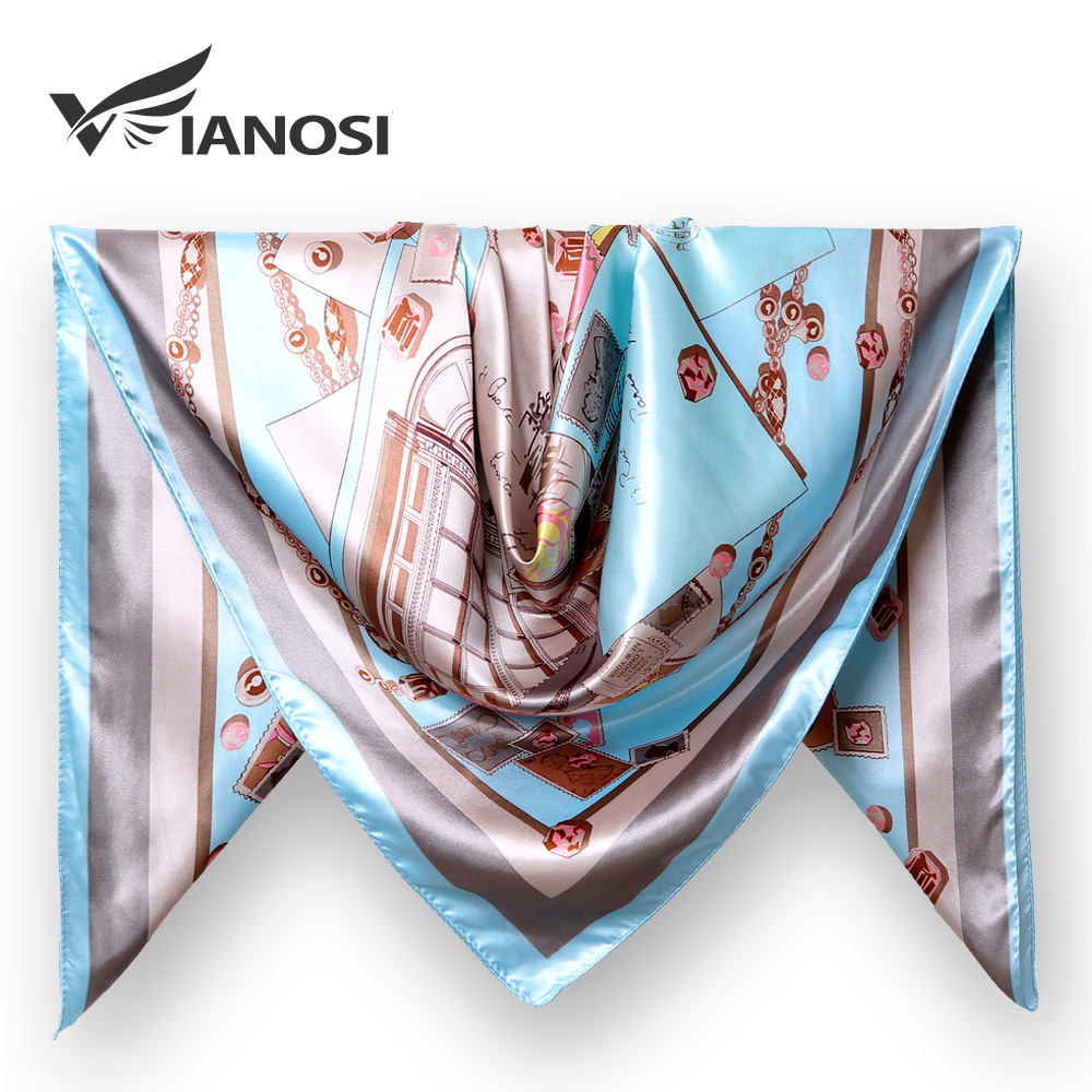 [VIANOSI] 2019 Scarves For Women Print Twill Square Silk Scarf Shawl Bandana For Head Large Hijab For Ladies 90X90cm