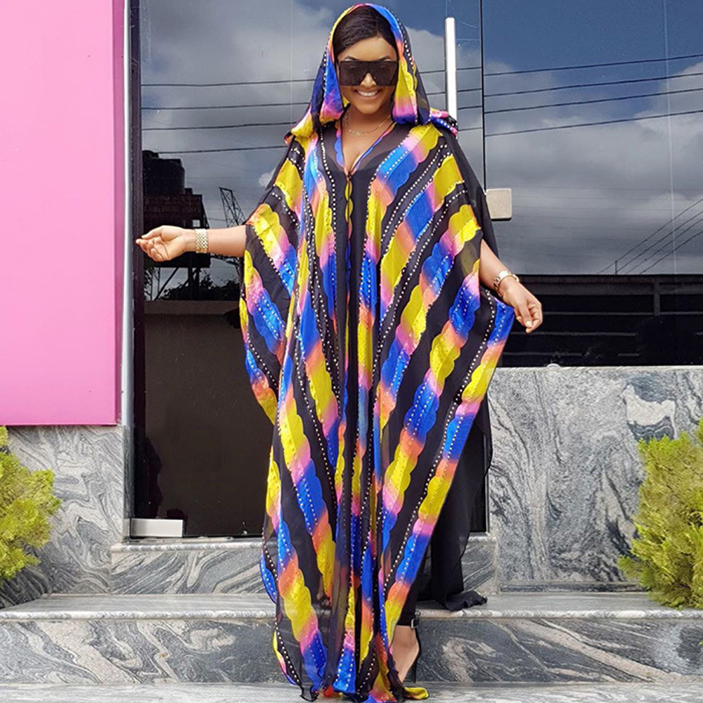 African Design Beading Abaya Chiffon Dashiki Dress Bat Hooded Cape Muslim Bazin Long Maxi Robe Gowns Africa Dashiki Traditional
