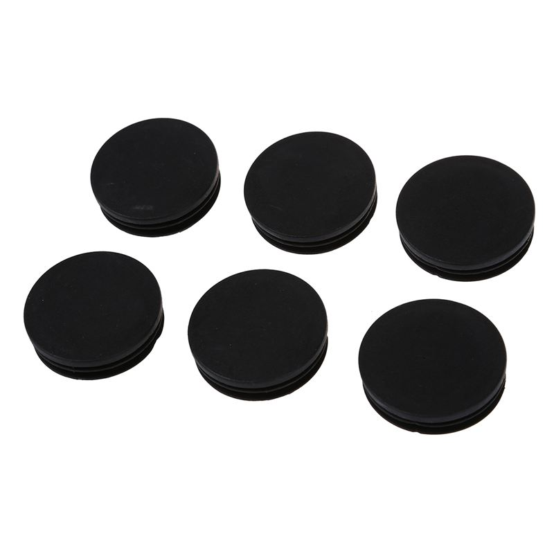 ABFU-6 X Black Plastic 50mm Dia Round Tubing Tube Insert Caps Covers