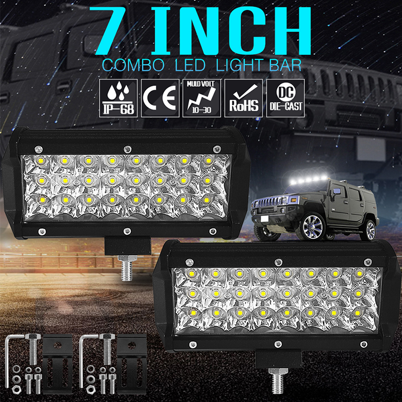 7 inch 72W LED Work Light rectangle Led Bar For 4x4 Vehicles Truck SUV ATV Boat Offroad Spot Lights for Jeep Auto Motorcycle