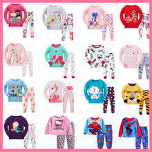 2019 Children Cartoon Pajamas Clothing Sets Girls Casual long-sleeved Blouse+pant two-piece Suit Set Boys Kids Sleepwear Sets(China)