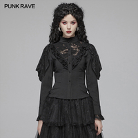 PUNK RAVE Women's Gothic Lantern Sleeve Black Lace Female Shirts Steampunk Retro Party Club Halloween Performance Women Blouse