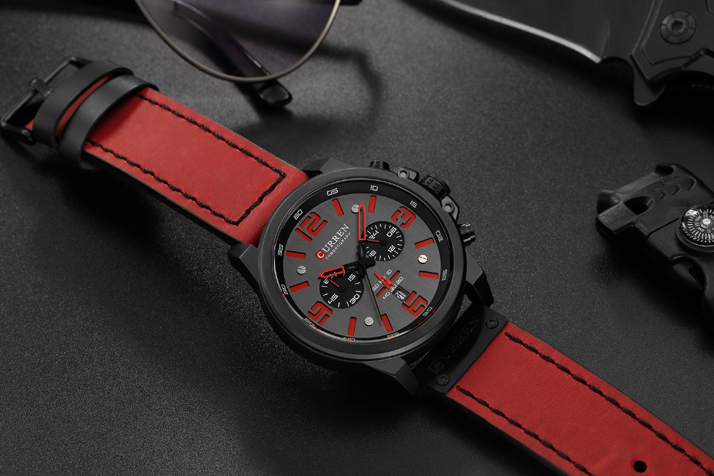 H49ff6864f7db4ed4b5aafc592d430d7cK Men watch Sport Quartz Wrist Watch Man Casual Genuine Leather Waterproof Chronograph Watch Male Wristwatch Gifts For Men