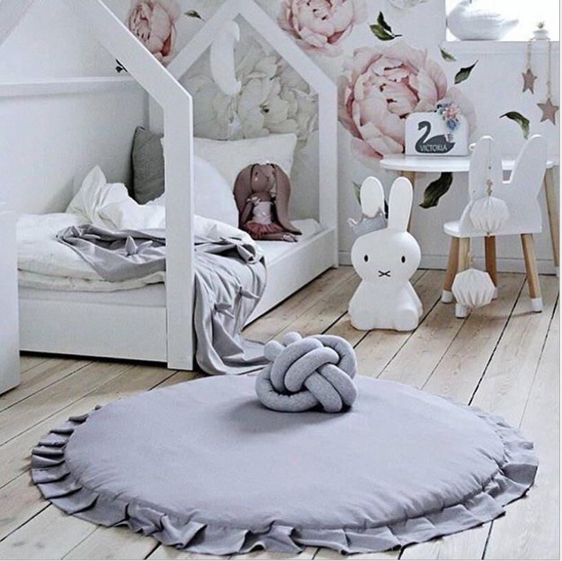 Nordique nouveau-né bébé rembourré tapis de jeu doux coton ramper tapis filles jeu tapis rond tapis de sol pour enfants intérieur chambre décor